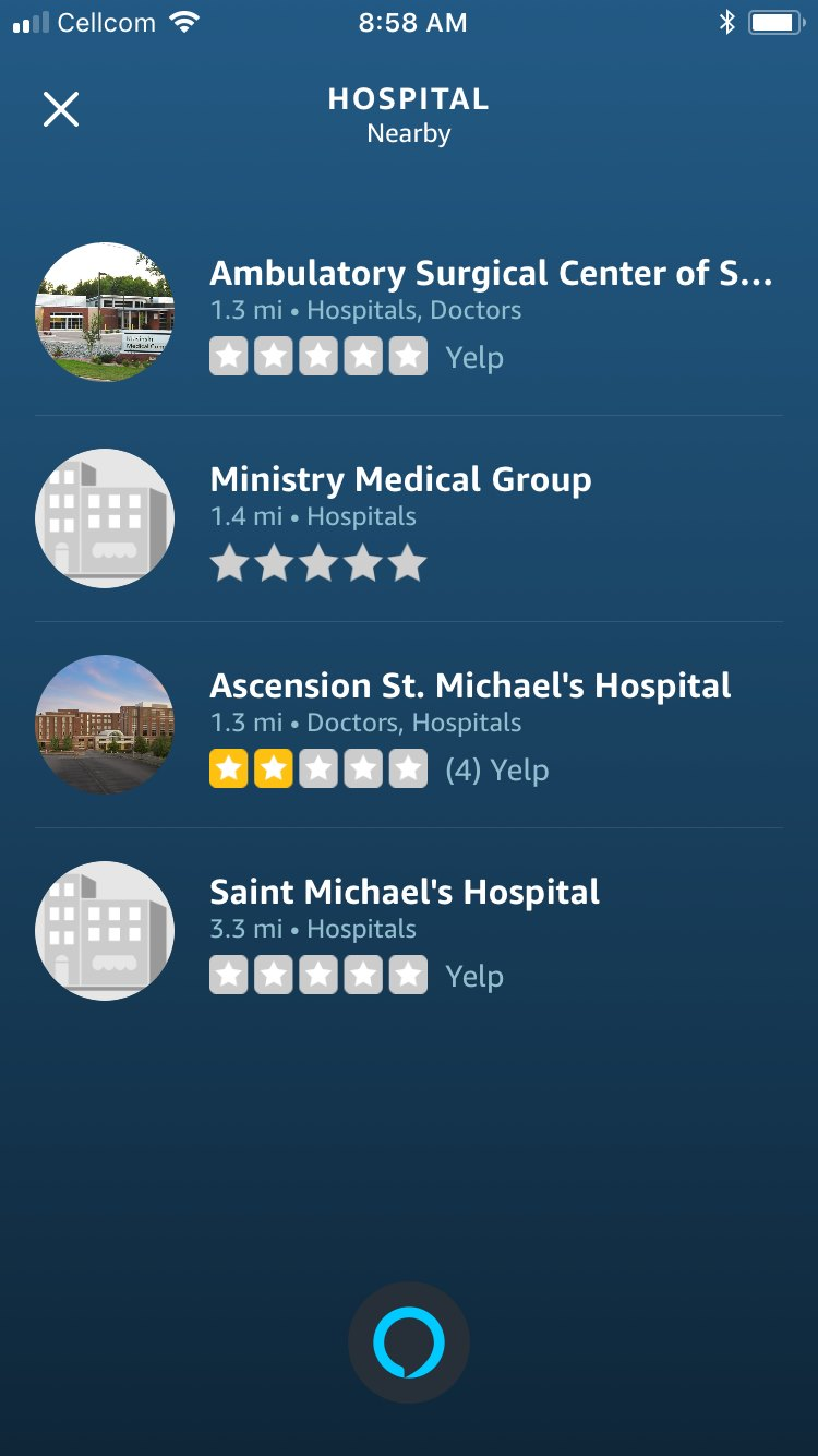 """When I asked Alexa, """"Where is the nearest hospital?"""" the top result was an ambulatory surgery center and the other results were the same facility."""