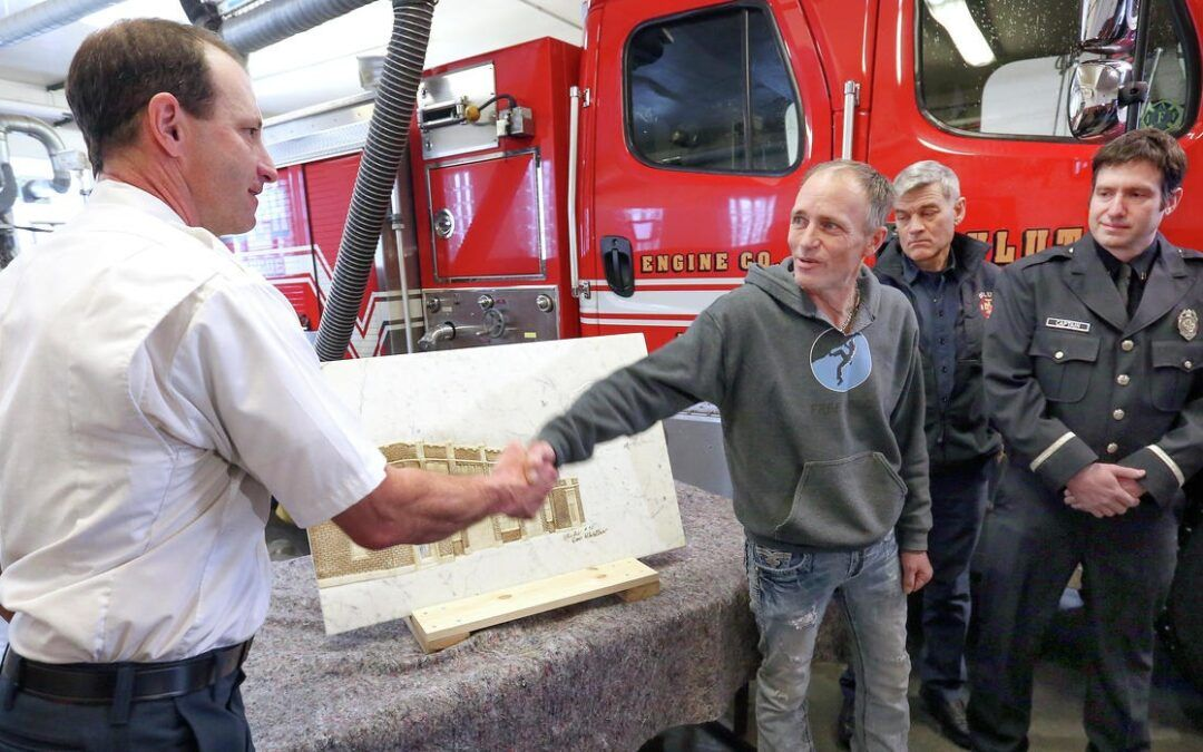 Artist says thanks to Duluth rescue crew with marble carving